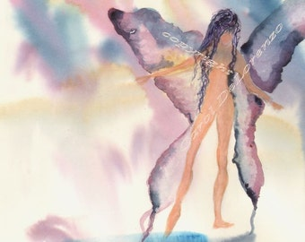 Watercolor Painting Angel Art, Angel Painting, Watercolor Angel, Spiritual Art, Angel Art Print Titled Water Angel Lily