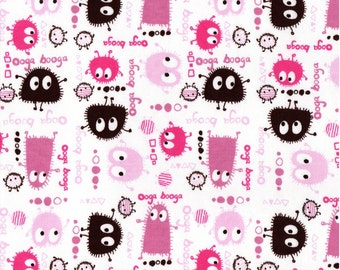 PINK n BROWN Ooga Booga, Cotton Interlock Knit Fabric, by the Yard