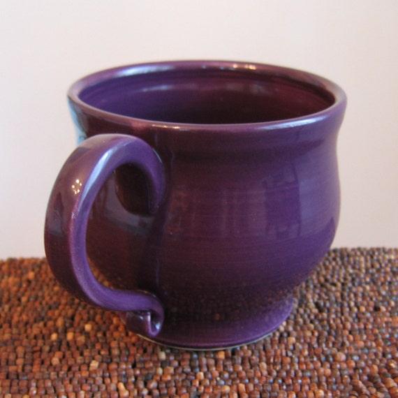 Plum Purple Pottery Mug 20 oz. Large Stoneware Coffee Mug