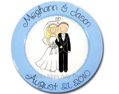11 inch Personalized Wedding Plate - Happy Couple Design