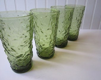 Vintage Anchor Hocking Lido Avocado Green Set of Four - Retro Barware
