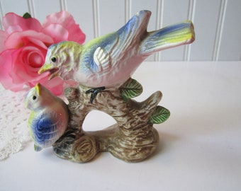 Vintage Bird Figurine Momma and Baby Bird Pastel Ceramic