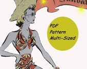 Womens Swim Suit Pattern With Beach Jacket Instant Download circa 1930 Multi Sized Easy To Make