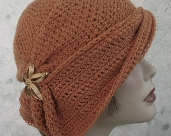 Crochet Hat Pattern Womens Cloche With Side Gathers And Draped Brim digital download