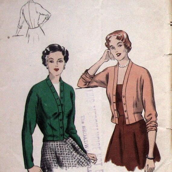 VINTAGE VOGUE Womens Jacket Pattern Easy To Make circa 1950s Sz16 UNCUT