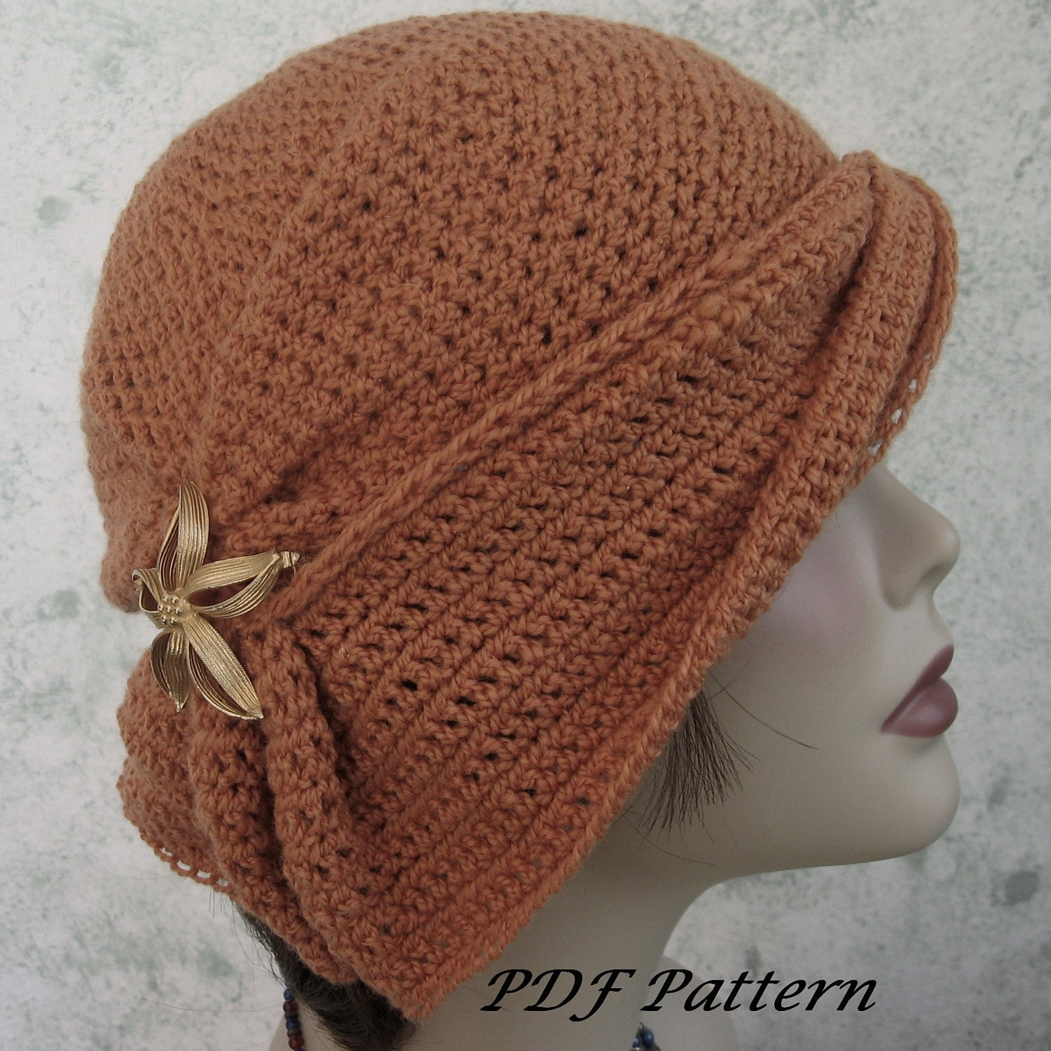 crochet hat pattern womens cloche with side gathers and draped