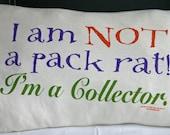 Not a Pack Rat Recycled Tshirt Pillow Rectangular Back Support Pillow Handmade EcoFriendly
