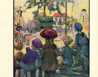 Vintage Storybook Illustration 1921 The Christmas Bazaar  Anne Anderson