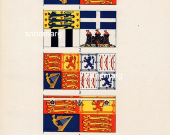Vintage  Chart of The Royal Standards of the Royal Family Queen Duke of Edinburgh Queen Mother Princess Margaret
