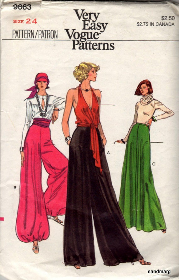 1970s maxi skirt, harem or palazzo pant pattern Very Easy Vogue 9633
