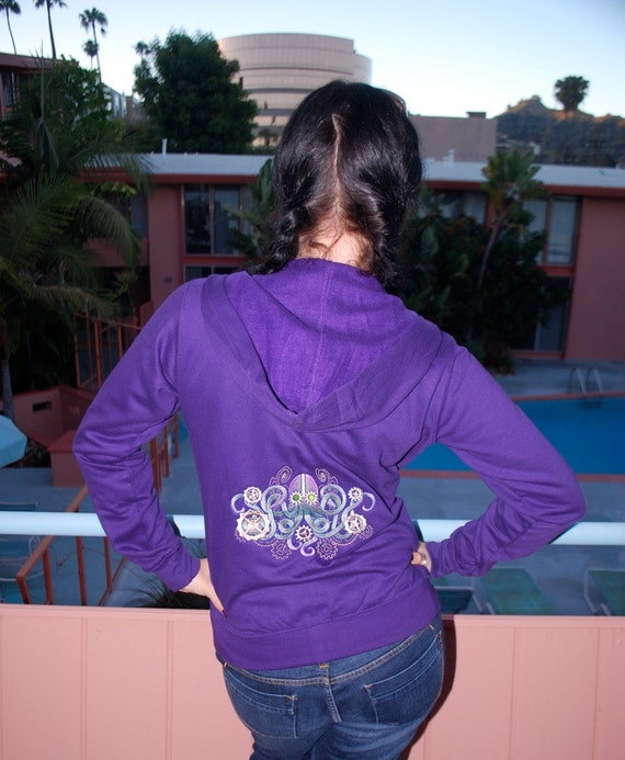 Purple Embroidered Hooded Sweatshirt - Nautical Steampunk 30 PERCENT OFF