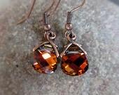 Volcano Earrings, Burnt Orange, Red, Copper, Rust, Swarovski Crystal Earrings, Irisjewelrydesign