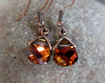 Volcano Earrings, Burnt Orange, Red, Copper, Rust, Swarovski Crystal Earrings, Irisjewelrydesign