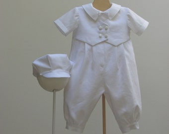 Baby Boy's Christening  Vest Romper Outfit and Newsboy Hat  -  Custom sizes