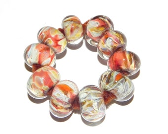 SALE-Hand Made Boro Beads, Orange, Beige, Yellow From Misty Creek Studio Artist Terry Sieber