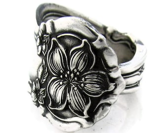 Spoon Ring, Choose Your Size 1910 Silver Orange Blossom
