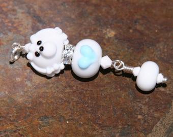 White Poodle DeSIGNeR PenDAnT SRA Lampwork poodles Blue Heart Little Boy
