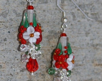 Christmas Cone Flowers Candy Cane Lampwork DeSIGNeR EaRrings Poinsettia Red Green Holiday Jewelry