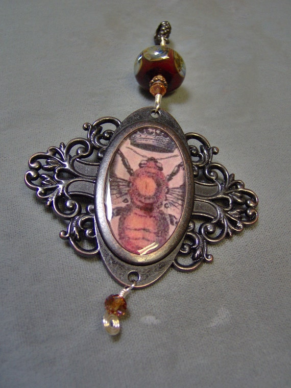 Handmade Resin Vintage Style Bee Pendant with - Artisan Lampwork Bead and Crystals