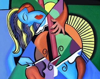 Woman With Her Chelo Music  Cubist Cubism Anthony Falbo