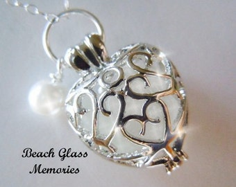 Heart Sea Glass Locket White Beach Glass  Necklace Seaglass Jewelry