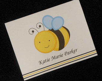Personalized Note Cards, thank you cards, bumble bee design, set of 20 with envelopes