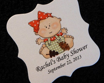 Personalized Baby Shower Favor Tags, baby girl with fall leaves, set of 20