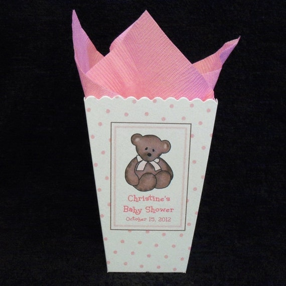 personalized baby shower popcorn boxes teddy bear with pink bow pink