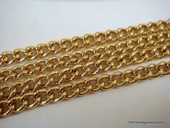 5ft Gold Chain Curb Link Steel 4x3.2mm Not Soldered - 5 feet - STR9001CH-G5-M