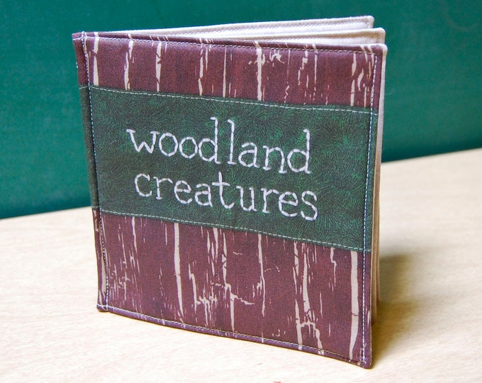 Woodland Creatures Cloth Book, printed on organic cotton