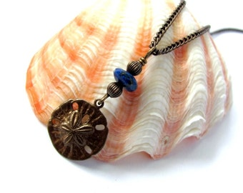 Sand Dollar Necklace Vintaj Brass Sanddollar Charm Sand Dollar Pendant Wire Wrapped Amazonite Stone Necklace Bead Natural Jewelry Hendywood