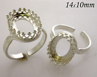 Oval 14x10mm RING Bezel Cups Quality Cast Shiny Sterling Silver 925 Setting Anti Tarnish (8492SH)