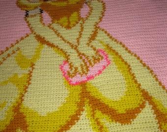 Custom Crocheted Disney Princess Belle Afghan Gift Present Christmas Birthday Girls Tweens Made to Order 8-10 weeks delivery