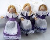 Felt Art Doll Hanging Ornament Pilgrim Girl Ready to Work
