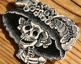Catrina Day of the Dead Shrink Plastic Brooch