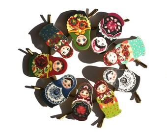 Matroyshka Doll Bobby Pins - Russian Jewelry - Russian Bobby Pins - Babushka - Babushka Jewelry - Teal - Red - Rose - Shrink Plastic - Aqua