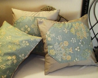 """Pillow Cover ONLY Set - Three (3) 14""""x14"""" Covers - Soft Blue Floral Pattern - Item PLW-514271"""