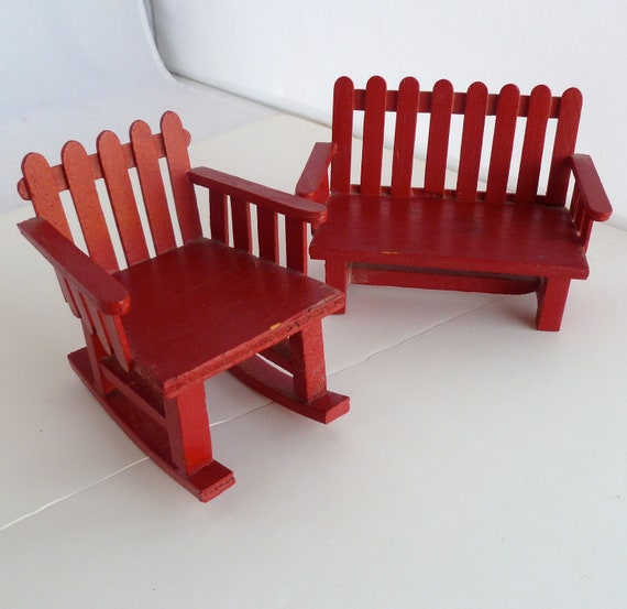 Miniature Red Rocking Chair ~ Sale miniature rocking chair and bench red by bitsandpiecesetc