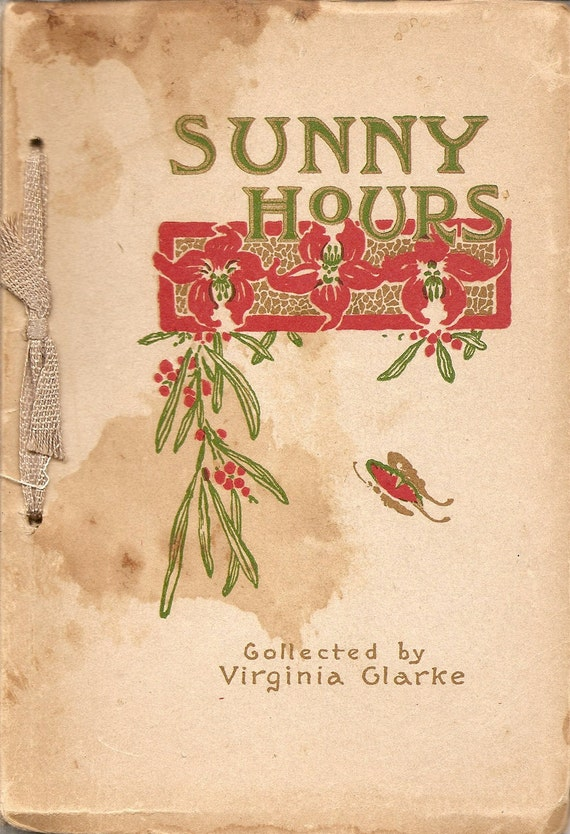 Sunny Hours - 1914 poetry book - red and green cover