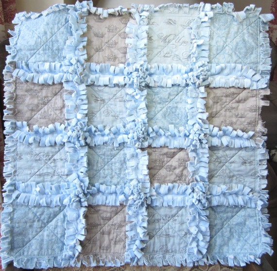 Baby Boy Rag Quilt Baby Boy Quilt Blue And Grey