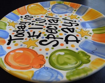 Birthday Plate - Colorful Personalized 10 Inch Ceramic Special Day Plate