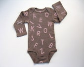Girls Alphabet One Piece, Hand Stamped Letters on a Snap Crotch T Shirt, Infant Bodysuit or Romper