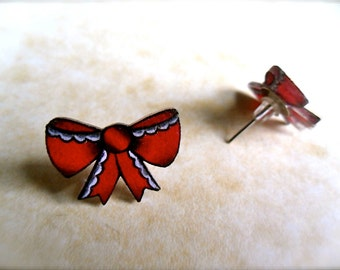 Super Cute Bright Red Retro Bow Holiday Stud Earrings NEW