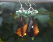 Brown and Green-Agate and Emerald Natural Gemstones-Sterling Silver Earrings
