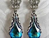 Swarovski Victorian Blue Crystal Earrings Blue Jewelry