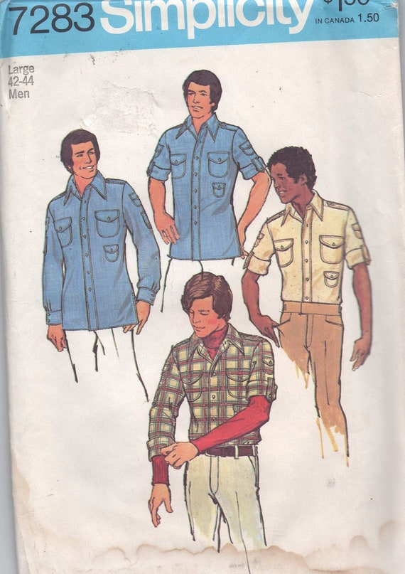 1970s vintage sewing pattern UNCUT Simplicity 7283 1975 size large chest 42 44 neck 16 16 1/2 waist 36 39 teen boys and mens shirt