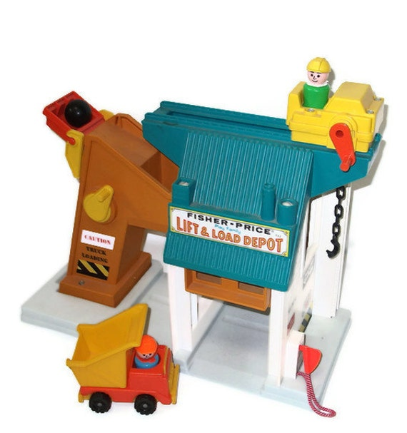 Vintage Fisher Price Lift and Load Depot Playset 1976 Vintage Fisher Price Playset Toy for Children
