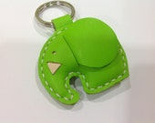 Laura the Elephant Leather Keychain ( Lime Green )