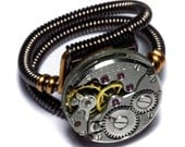 Steampunk Jewelry - Watch Movement Steampunk Ring by Catherinette Rings