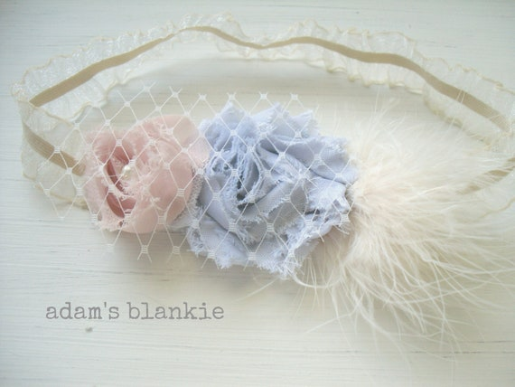 Gussied Pink Elephant Headband - Pink and Gray Shabby Rosettes Feathers French Tulle Netting Pearl  Baby Infant Newborn Girls